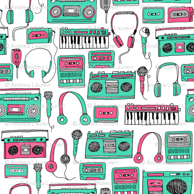 80s music // keyboards karaoke tape player cassettes cassette andrea lauren fabric girls 80s fabric print pink and green