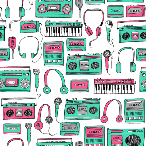 80s music // keyboards karaoke tape player cassettes cassette andrea lauren fabric girls 80s fabric print pink and green fabric by andrea_lauren on Spoonflower - custom fabric