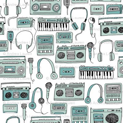 80s music // cassettes cassette boombox music hand-drawn illustration 80s fabric music fabric kids design andrea lauren