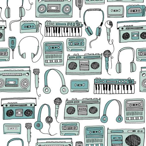 80s music // cassettes cassette boombox music hand-drawn illustration 80s fabric music fabric kids design andrea lauren fabric by andrea_lauren on Spoonflower - custom fabric