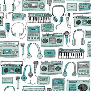 80s music // cassettes cassette boombox music hand-drawn illustration 80s fabric music fabric kids design andrea lauren
