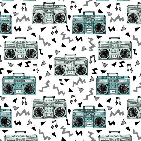 80s boombox //  80s fabric mint and grey fabric music kids girls retro throwback music cassettes fabric fabric by andrea_lauren on Spoonflower - custom fabric