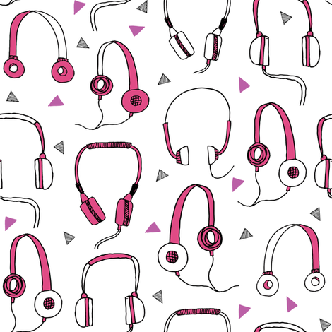 headphones // pink and purple 80s inspired fabric 80s print 90s print cassettes cassette music print by andrea lauren fabric by andrea_lauren on Spoonflower - custom fabric