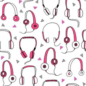 headphones // pink and purple 80s inspired fabric 80s print 90s print cassettes cassette music print by andrea lauren