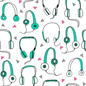 headphones // green and pink 80s neon 90s bright fabrics 80s design music fabric by andrea lauren