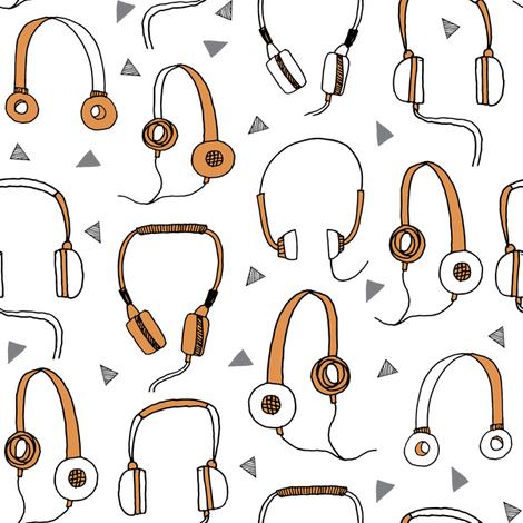 headphones // orange and grey headphone 80s 90s fabric music fabric headphones cassettes andrea lauren fabric by andrea_lauren on Spoonflower - custom fabric
