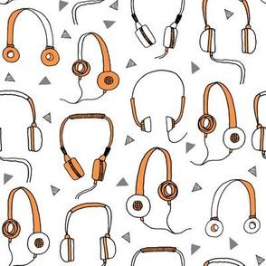 headphones // orange and grey headphone 80s 90s fabric music fabric headphones cassettes andrea lauren