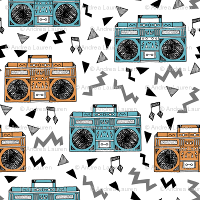 80s boombox // boomboxes 80s music print 80s fabric boombox music trendy fabric by andrea lauren
