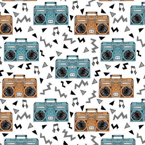 80s boombox // boomboxes 80s music print 80s fabric boombox music trendy fabric by andrea lauren fabric by andrea_lauren on Spoonflower - custom fabric