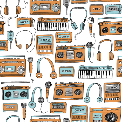 80s music //  cassettes cassette player music karaoke tapes tape player boombox music fabric andrea lauren fabric by andrea_lauren on Spoonflower - custom fabric