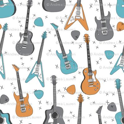 guitars // guitar electric guitar music fabric fabrics boys rock band fabric trendy music fabric print by andrea lauren