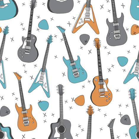 guitars // guitar electric guitar music fabric fabrics boys rock band fabric trendy music fabric print by andrea lauren fabric by andrea_lauren on Spoonflower - custom fabric
