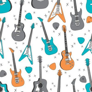 guitars // guitar electric guitar music fabric fabrics boys rock band fabric trendy music fabric print by andrea lauren