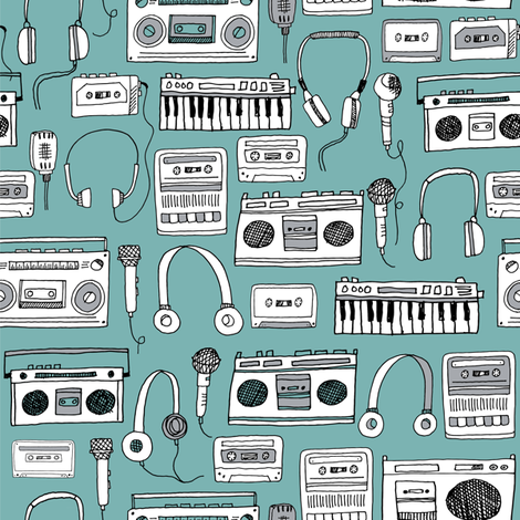 80s music // karaoke keyboards cassettes tapes tape player boombox 80s music 90s fabric print andrea lauren design fabric by andrea_lauren on Spoonflower - custom fabric