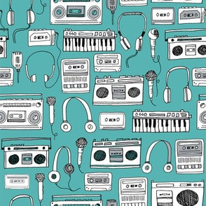 80s music // karaoke keyboards cassettes tapes tape player boombox 80s music 90s fabric print andrea lauren design