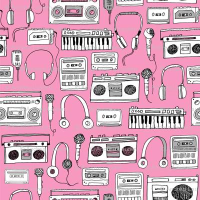 80s music // boombox cassettes cassette headphones keyboard music microphone fabric