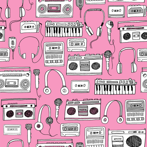 80s music // boombox cassettes cassette headphones keyboard music microphone fabric fabric by andrea_lauren on Spoonflower - custom fabric