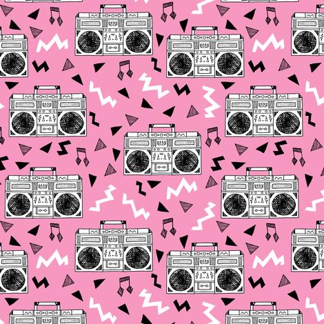 boombox // 80s music pink 80s fabric 80s print girls fabric fabric by andrea_lauren on Spoonflower - custom fabric