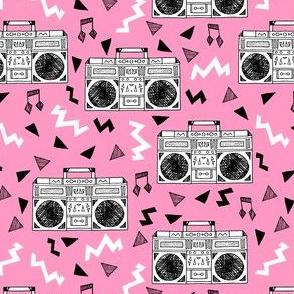 boombox // 80s music pink 80s fabric 80s print girls fabric