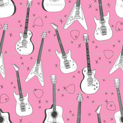 guitars // pink guitar fabric for girls rock bands electric guitars music print