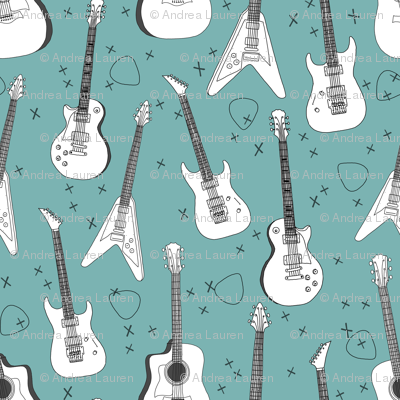 guitars // electric guitars music fabric rock band guitar music fabric