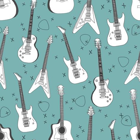 guitars // electric guitars music fabric rock band guitar music fabric fabric by andrea_lauren on Spoonflower - custom fabric
