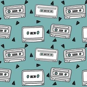 cassettes // cassette fabric  80s fabric 90s fabric 80s print andrea lauren fabrics
