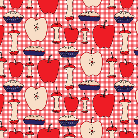Apple Pie Fruit Food American Teacher Patriotic Picnic Red White Blue 4th of July _Miss Chiff Designs fabric by misschiffdesigns on Spoonflower - custom fabric