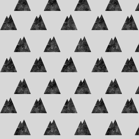 Destroyed Mountains Black on Gray fabric by ajoyfulriot on Spoonflower - custom fabric