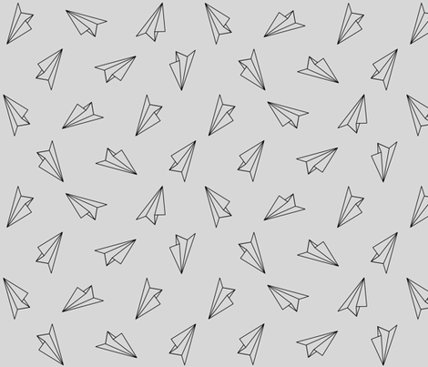 Paper Airplanes Black on Gray fabric by ajoyfulriot on Spoonflower - custom fabric