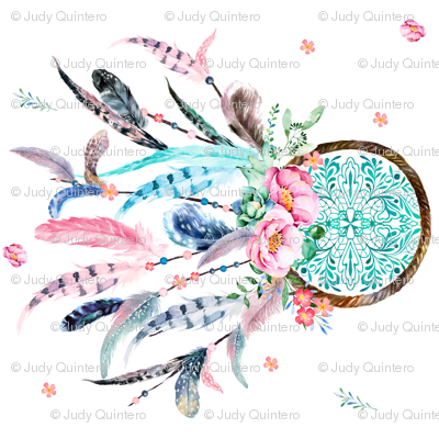 "8"" in 90 degrees - Pink & Aqua Dreamcatcher"