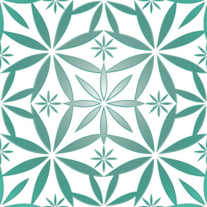 Flowers Pattern Metallic Aqua Large