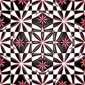 Flowers Pattern Repeat Metallic Red Black