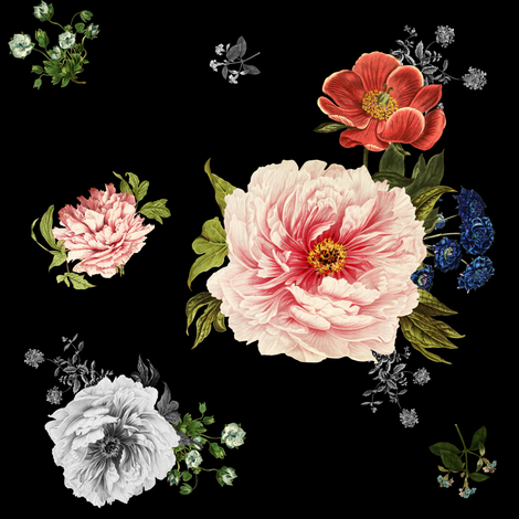 Wild Side Florals in Black fabric by shopcabin on Spoonflower - custom fabric