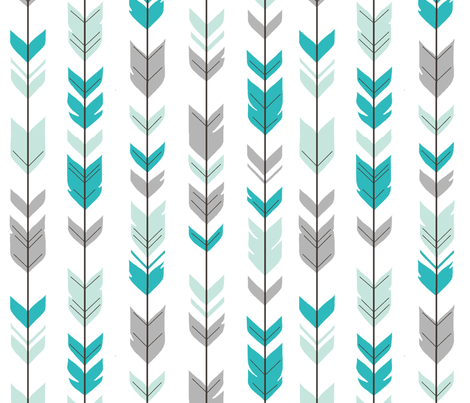 Arrow feathers - mint, teal, grey fabric by sugarpinedesign on Spoonflower - custom fabric