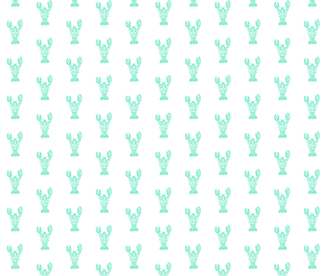 Block Print Lobster - Mint fabric by carabaradesigns on Spoonflower - custom fabric