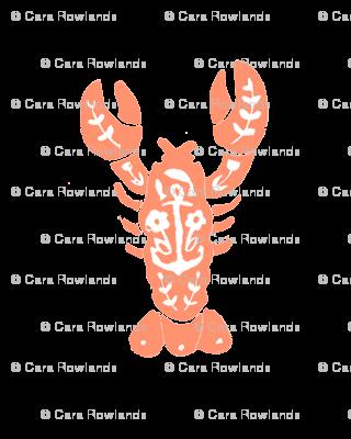 Block Print Lobster - Coral