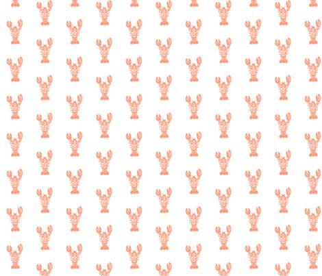 Block Print Lobster - Coral fabric by carabaradesigns on Spoonflower - custom fabric