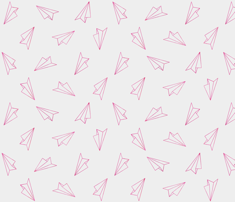 Paper Airplanes Neon Pink on Gray fabric by ajoyfulriot on Spoonflower - custom fabric