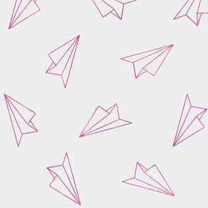 Paper Airplanes Neon Pink on Gray