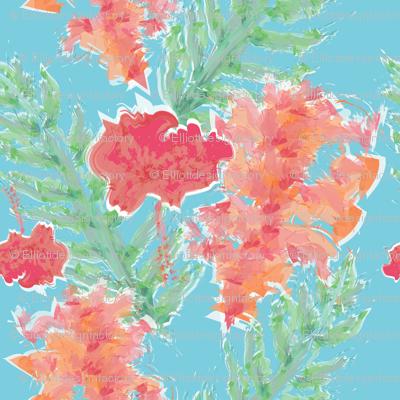 Tropical Hibiscus Watercolor in Aqua Sea