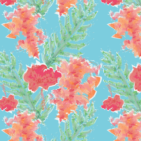 Tropical Hibiscus Watercolor in Aqua Sea fabric by elliottdesignfactory on Spoonflower - custom fabric