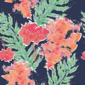 Tropical Hibiscus Watercolor in Atlantic Navy