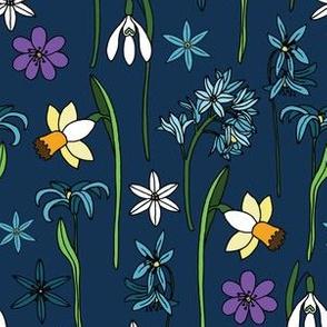 Spring flowers blue