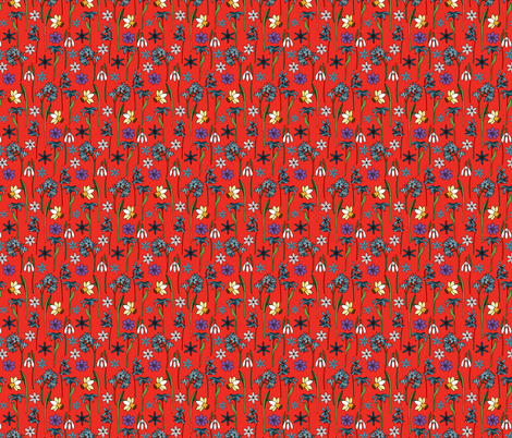 spring flowers red fabric by marta_strausa on Spoonflower - custom fabric