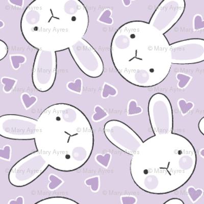 tiny bunny faces on purple