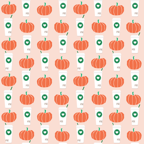 pumpkin spice coffee latte smaller version cute coffees lattes autumn fall cute girls  fabric by charlottewinter on Spoonflower - custom fabric