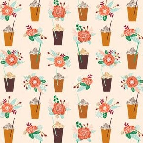 pumpkins floral autumn smaller version cute girls latte coffee drinks autumn flowers cute girls coffee design