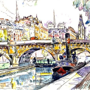 boats bridges rivers houses buildings trees scenery landscape  abstract water color vintage tugboats towns city cities