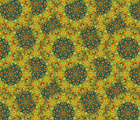 Kaleidoscopic pattern fabric by xinnie_and_rae on Spoonflower - custom fabric